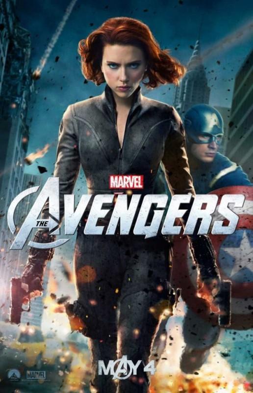 The Avengers: nuovo character poster di Black Widow/Scarlett Johansson. Sullo sfondo appare Capitan America