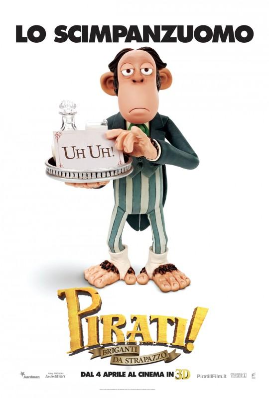 Pirati! Briganti da strapazzo: character poster esclusivo italiano con Lo Scimpanzuomo
