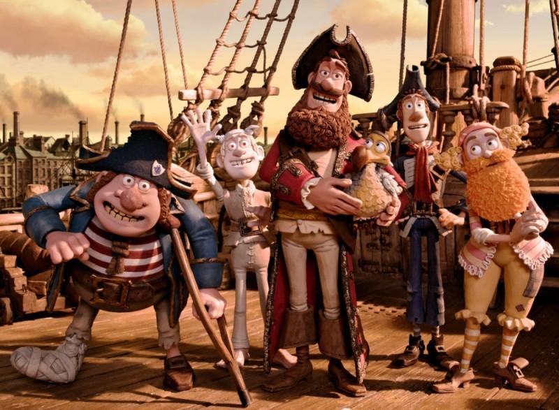Pirati! Briganti da strapazzo: il Capitano dei Pirati con la sua ciurma in una foto di gruppo tratta dal film