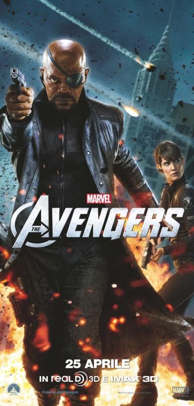 The Avengers:Samuel L. Jackson e Cobie Smulders sono Nick Fury e Maria Hill in coppia su uno dei character poster italiani del film