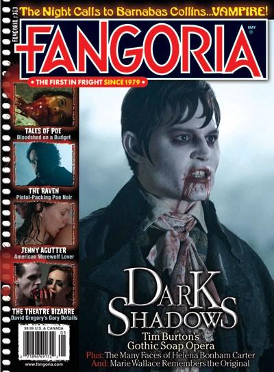 Copertina di Fangoria dedicata al sanguinolento vampiro Johnny Depp di Dark Shadows