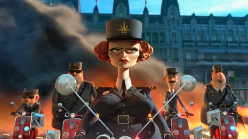 Madagascar 3: ricercati in Europa, il capitano Chantel Dubois con la sua squadra sulle tracce dei ricercati in una scena del film