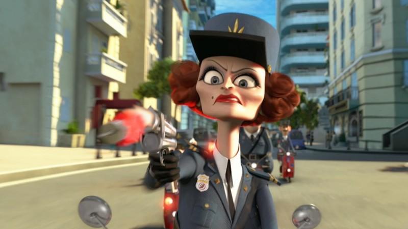 Madagascar 3: ricercati in Europa, il capitano Dubois, doppiato da Frances McDormand, prende la mira in una scena del film