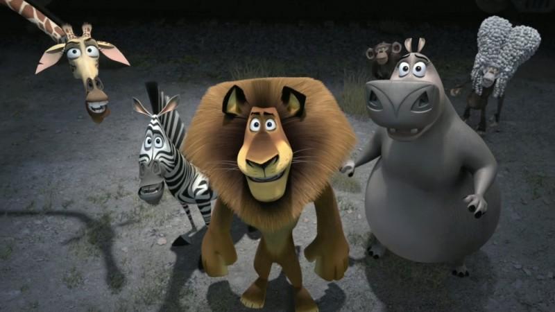 Madagascar 3: ricercati in Europa, Melman, Marty, Alex, Gloria e le due scimmie in una scena del film