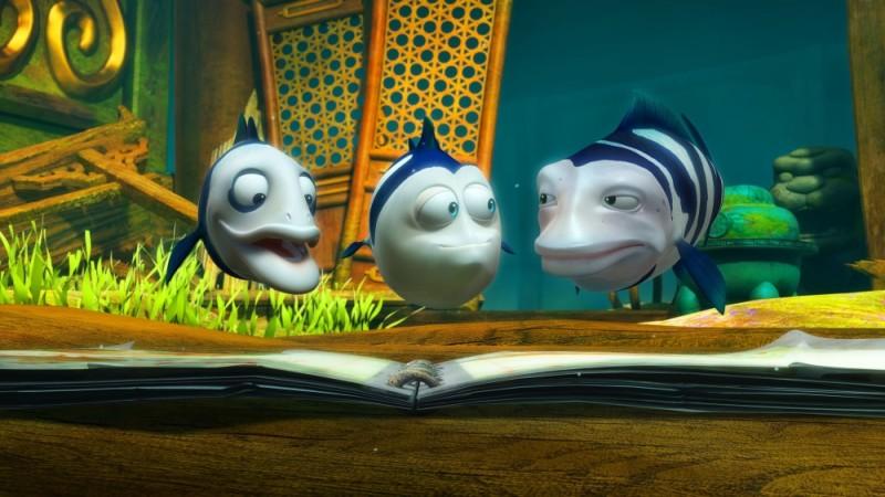 Seafood - Un pesce fuor d'acqua: i pesci Moe, Curly e Larry in una scena del film