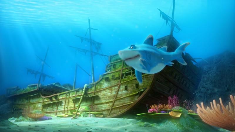 Seafood - Un pesce fuor d'acqua: lo squalo Julius accanto ad un relitto in una scena del film