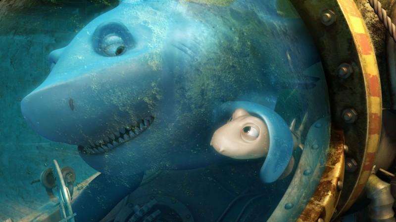 Seafood - Un pesce fuor d'acqua: lo squalo pinna bianca Julius con il piccolo Pup in una scena del film