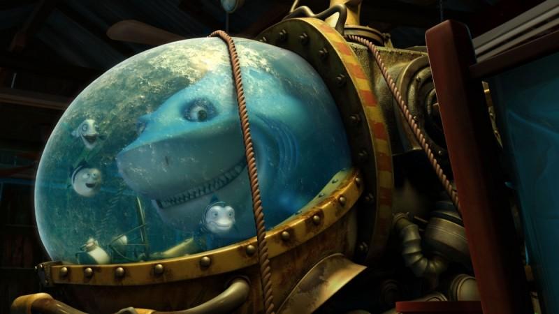Seafood - Un pesce fuor d'acqua: lo squalo pinna bianca Julius con i suoi tre amici pesci e la sua nuova armatura da esterno in una scena del film