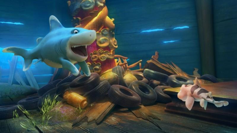 Seafood - Un pesce fuor d'acqua: lo squalo pinna bianca Julius con il suo amico baby squalo Pup frugano dentro al relitto in una scena del film