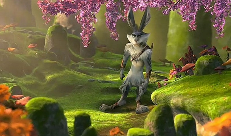 Le 5 leggende: il Coniglietto di Pasqua nel bosco in una scena del nuovo film d'animazione della Dreamworks