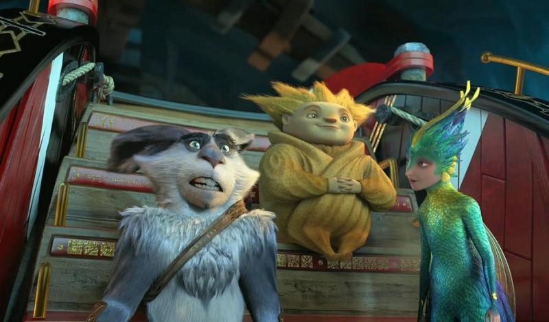 Le 5 leggende: Sandman, la Fata del Dentino e il Coniglietto di Pasqua in una scena del nuovo film d'animazione della Dreamworks