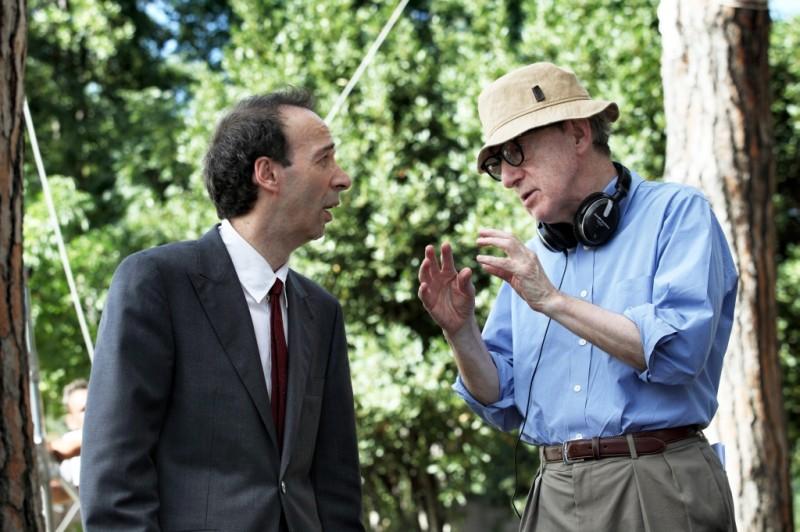 Roberto Benigni insieme a Woody Allen sul set di To Rome with Love
