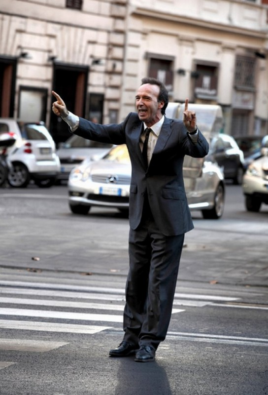 Roberto Benigni sul set di To Rome with Love