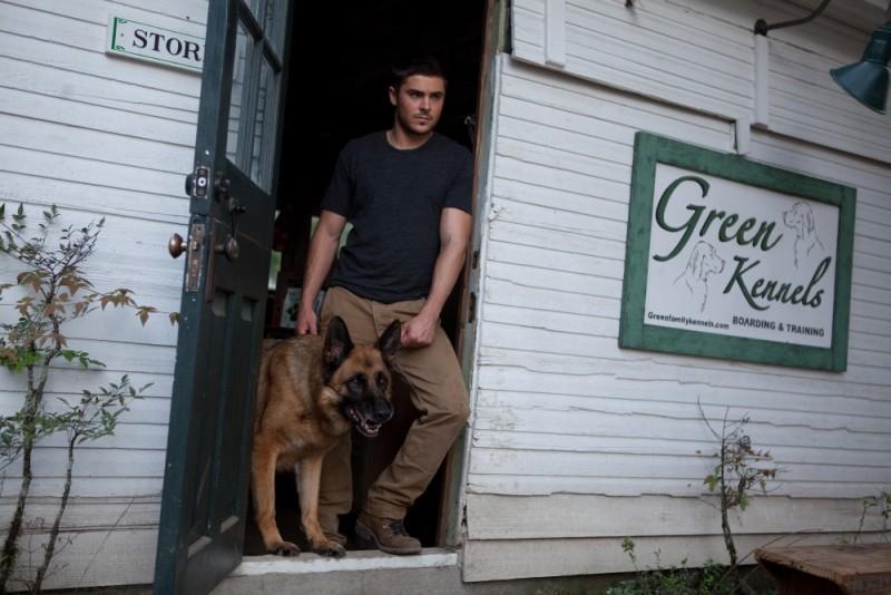 Ho cercato il tuo nome: Zac Efron con il suo cagnolone in una scena del film