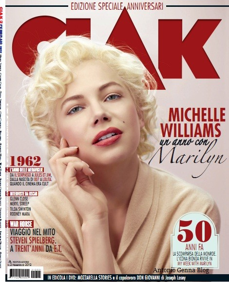 Michelle Williams in cover su Ciak per promuovere 'My Week With Marilyn'.