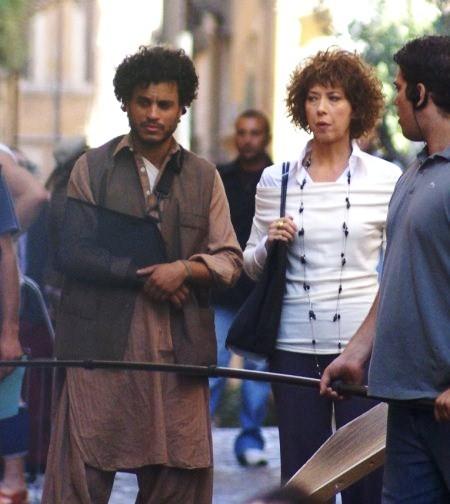 Mohamed Zouaoui E Veronica Pivetti sul set de La ladra