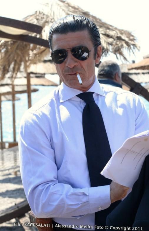 Gaetano Antinoro durante le riprese del film Baci Salati regia di Antonio Zeta