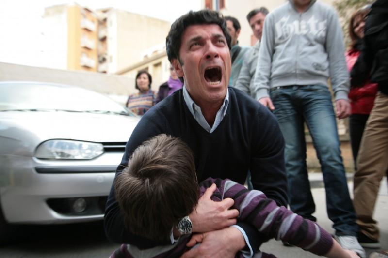 Gaetano Antinoro durante le riprese del Mediocorto La Corsa alla Vita regia di Fabio Cillia