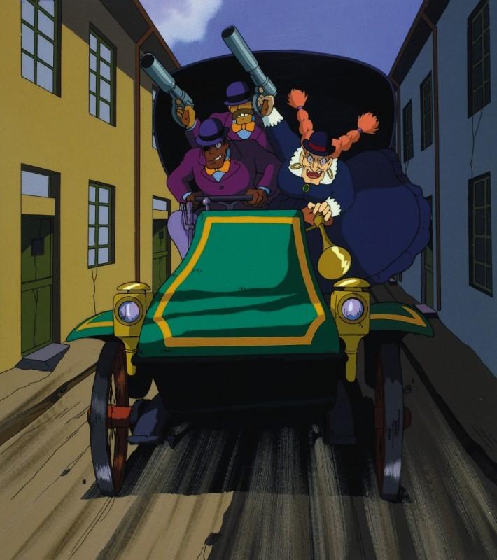 Il castello nel cielo: la perfida Dola con i suoi scagnozzi in una scena del film