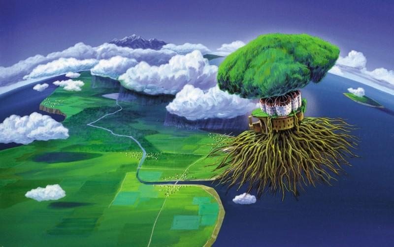 Il castello nel cielo: una bellissima dell'isola fluttuante di Laputa tratta dal film