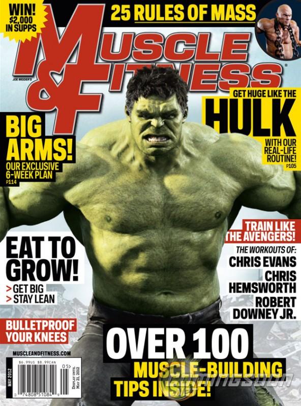 Copertina di Muscle & Fitness dedicata a Hulk, eroe di the Avengers