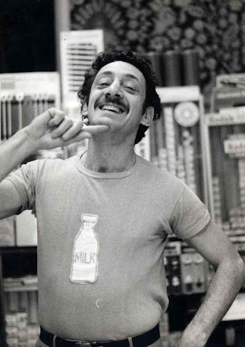 Una foto di Harvey Milk con un'ironica t-shirt