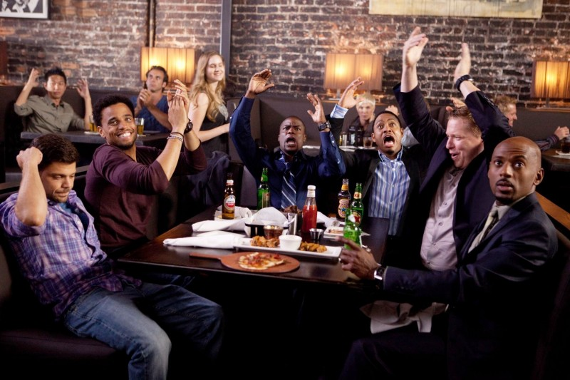 Michael Ealy, Kevin Hart, Gary Owen, Terrence J, Romany Malco e Jerry Ferrara nella commedia Think Like a Man (2012).