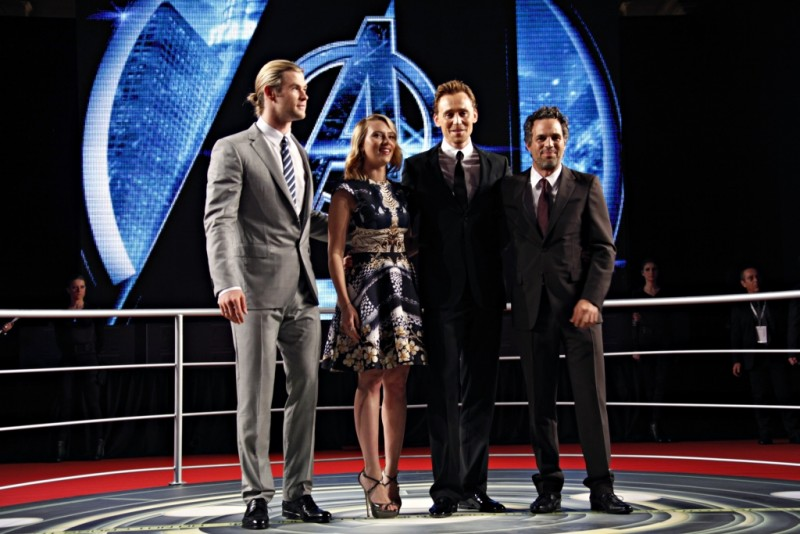 The Avengers: Scarlett Johansson, Mark Ruffalo, Chris Hemsworth e Tom Hiddleston durante la premiere italiana The Avengers a Roma