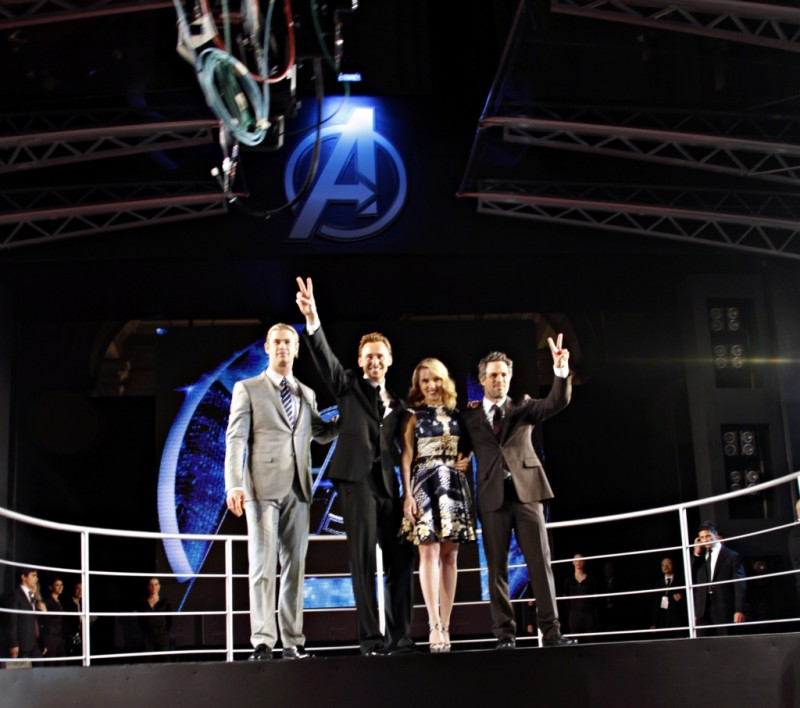 The Avengers: Scarlett Johansson, Mark Ruffalo, Chris Hemsworth e Tom Hiddleston durante la premiere romana di The Avengers