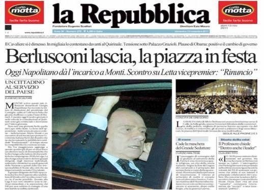 Silvio Berlusconi in prima pagina su Repubblica, nel giorno delle dimissioni