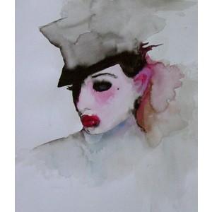 Dita Von Teese in un ritratto ad acquerello di Marilyn Manson