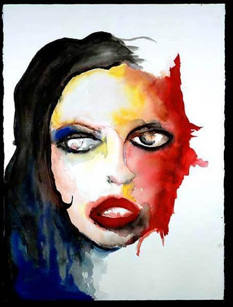 Rose McGowan in un ritratto ad acquerello di Marilyn Manson