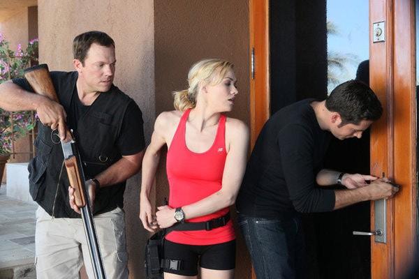 Chuck: Adam Baldwin, Yvonne Strahovski e Zachary Levi nell'episodio Chuck Versus the Bearded Bandit