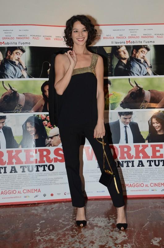 Workers - Pronti a tutto: Nicole Grimaudo alla premiere del film. L'attrice indossa un abito di GUCCI della Collezione Primavera-Estate 2012