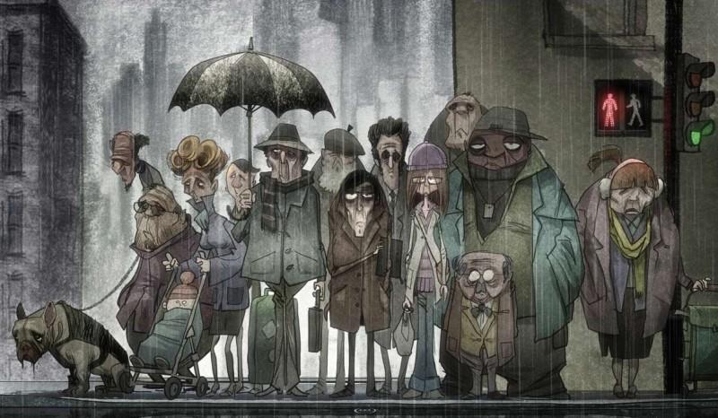Le magasin des suicides: una scena di gruppo del film d'animazione diretto da Patrice Leconte