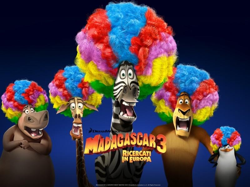Madagascar 3: Alex, Marty, Melman, Gloria e l'amico pinguino in uno dei coloratissimi afro-wallpaper italiani del film