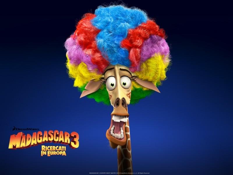 Madagascar 3: Melman la giraffa in uno dei coloratissimi wallpaper italiani del film