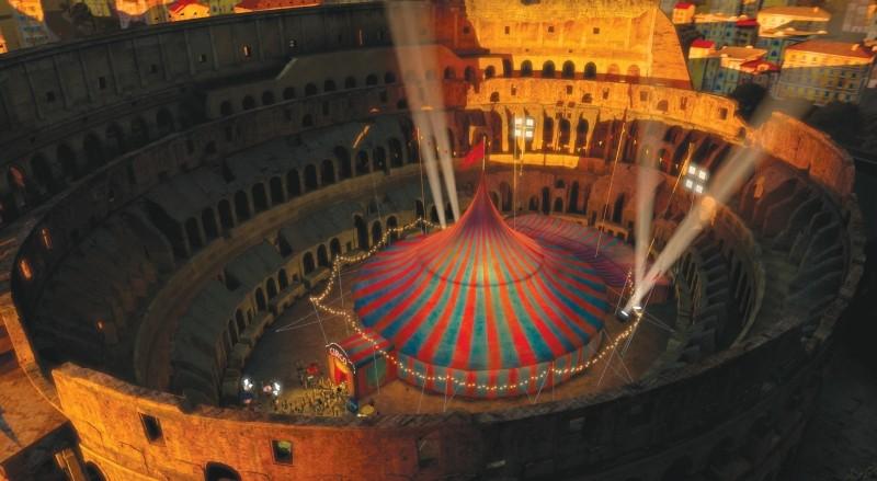 Madagascar 3: ricercati in Europa, i nostri eroi arrivano al circo romano allestito dentro al Colosseo