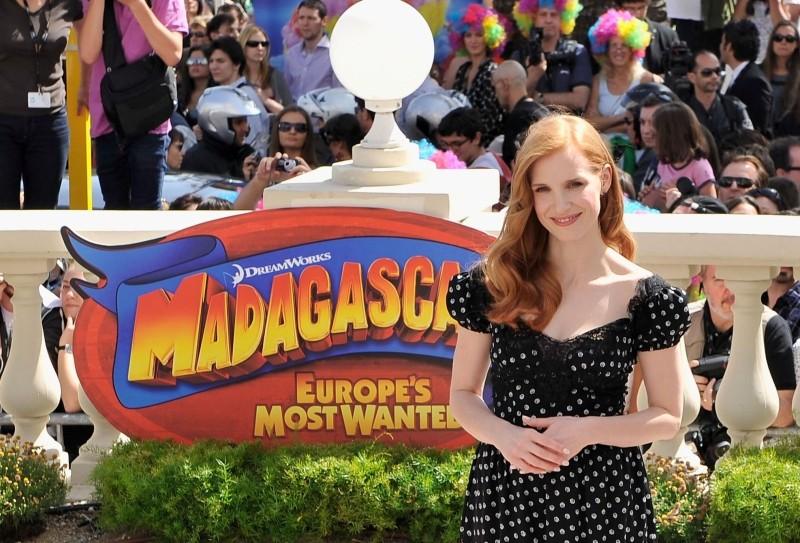 Madagascar 3: ricercati in Europa, Jessica Chastain in uno scatto durante il photocall sulla Croisette