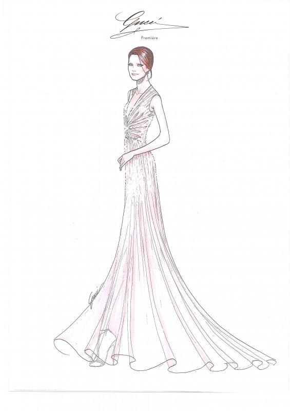 Cannes 65: la bozza dell'abito GUCCI indossato da Jessica Chastain per la premiere di Lawless