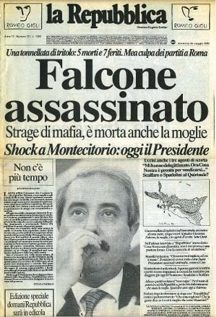 Giovanni Falcone: la prima pagina de La Repubblica dedicata alla strage di Capaci