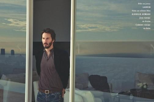Keanu Reeves in una foto pubblicata da Vogue Hommes
