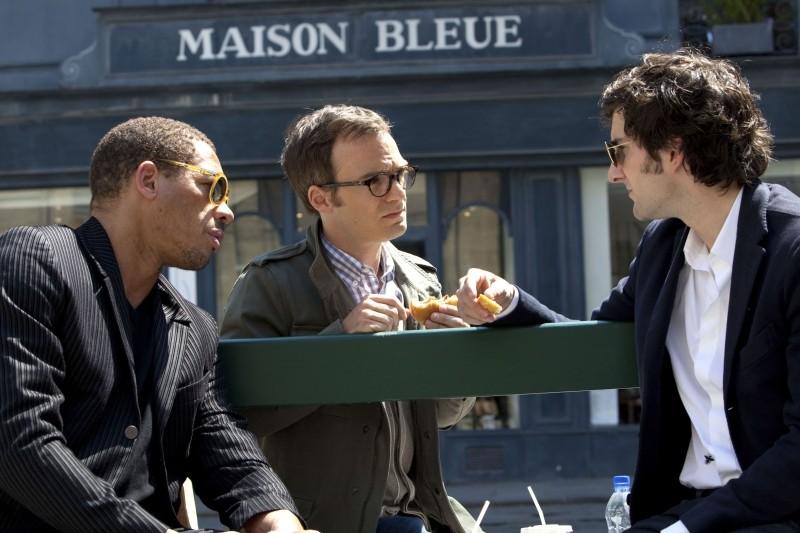 L'amore dura tre anni: Gaspard Proust, Jonathan Lambert e Joey Starr in una scena del film