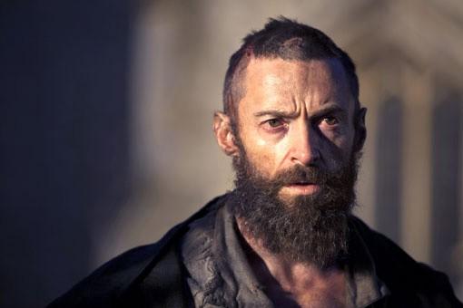 Un sofferto primo piano di Hugh Jackman in Les Misérables
