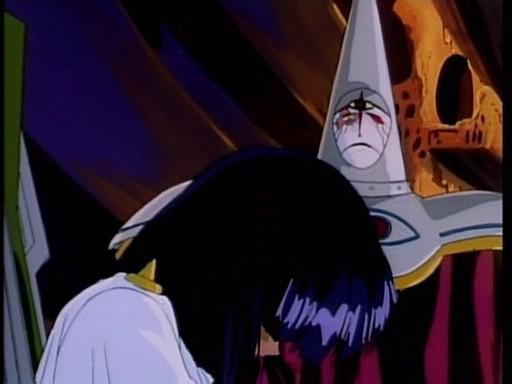 Gargoyle e la protagonista in una scena di Eredita le stelle, ultimo episodio dell'anime Nadia