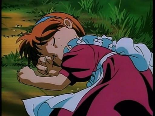 La piccola Marie addormentata, in una scena del quinto episodio dell'anime Nadia