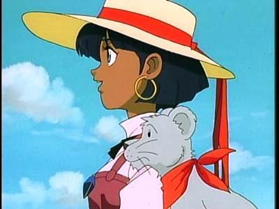 La protagonista con il suo leonino King in una scena del primo episodio dell'anime Nadia