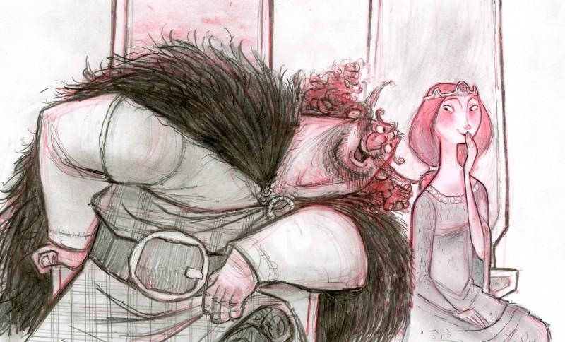 Ribelle - The Brave: Elinor e Fergus in un Concept Art a matita del film