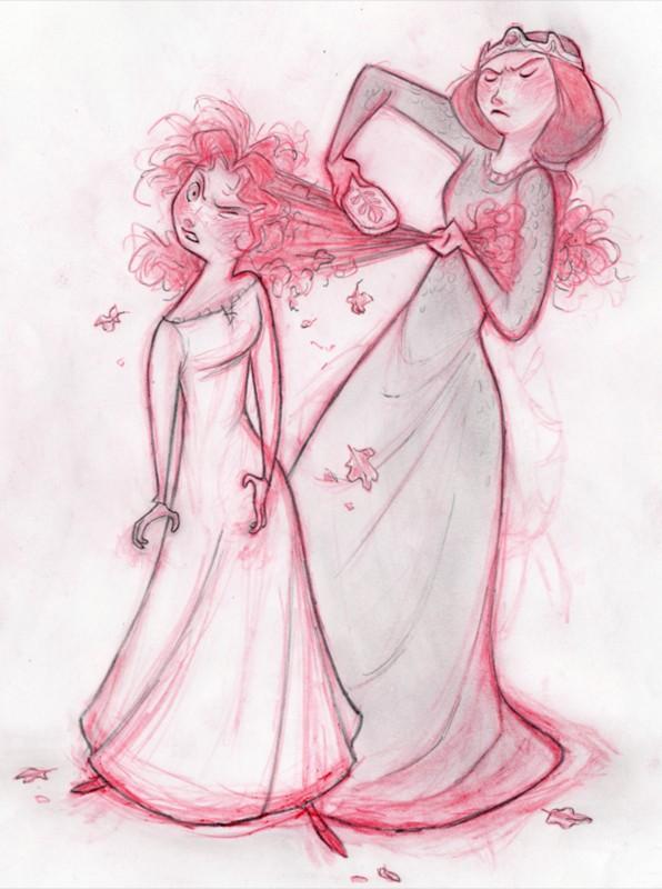Ribelle - The Brave: Elinor pettina i capelli di Merida in un Concept Art a matita del film