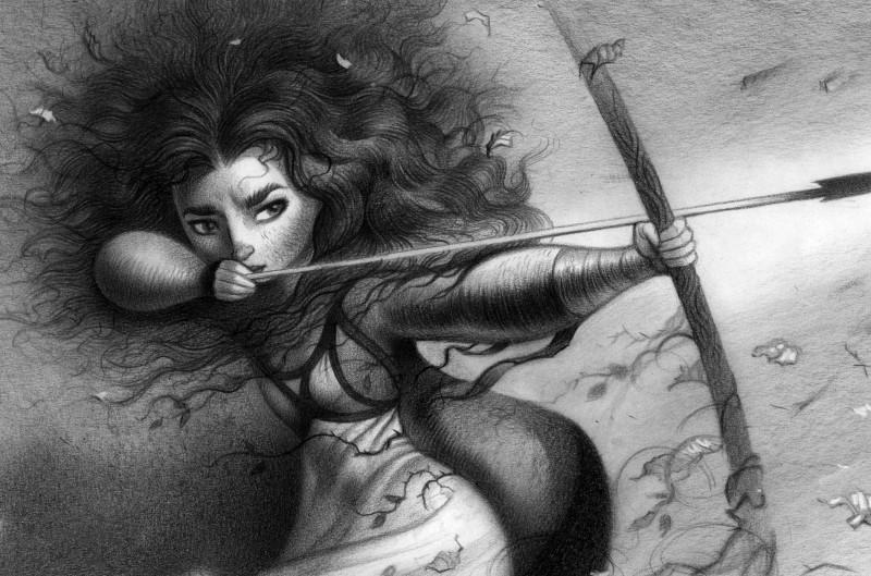 Ribelle - The Brave: Merida tira con l'arco in un Concept Art a matita del film